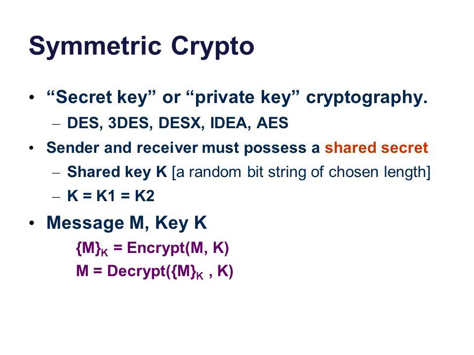 "Symmetric Crypto ""Secret key"" or ""private key"" cryptography. – DES, 3DES, DESX, IDEA, AES Sender and receiver must possess a shared secret – Shared ke"
