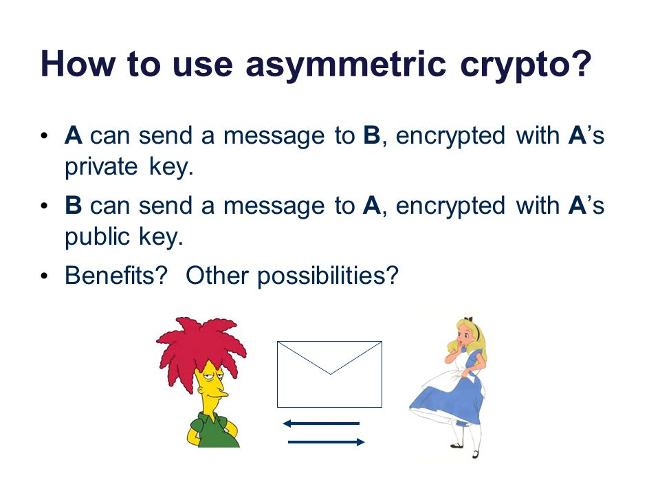 How to use asymmetric crypto. A can send a message to B, encrypted with A's private key.