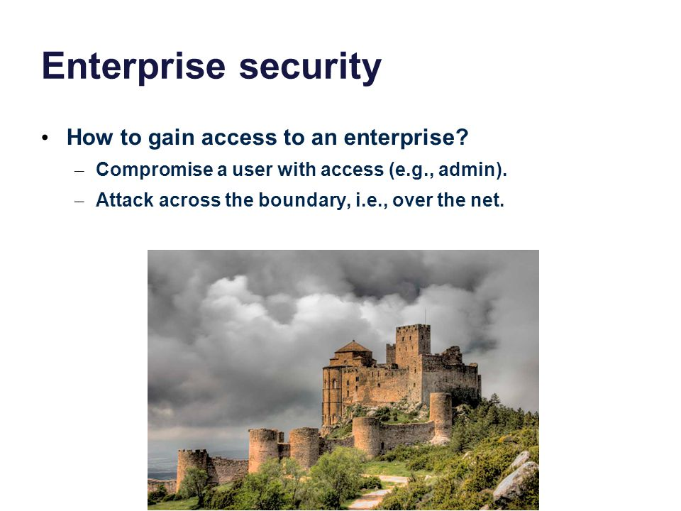 Enterprise security How to gain access to an enterprise.
