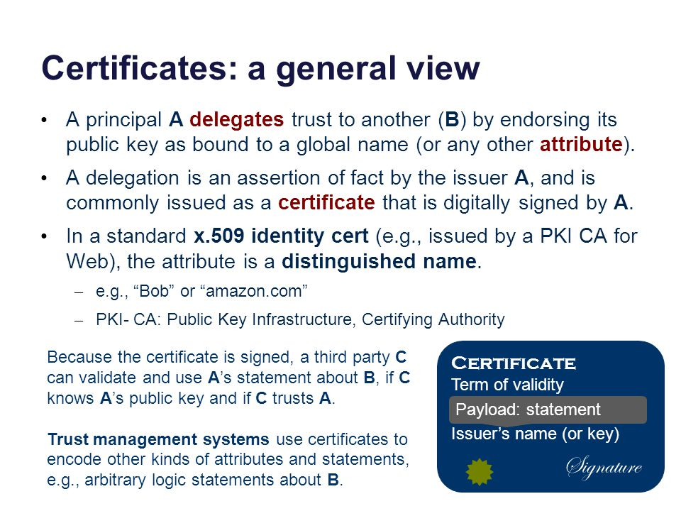 Certificates: a general view A principal A delegates trust to another (B) by endorsing its public key as bound to a global name (or any other attribute).