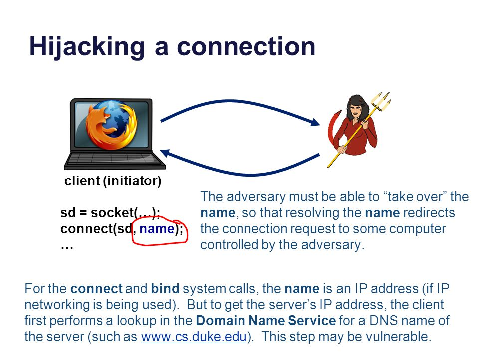 Hijacking a connection sd = socket(…); connect(sd, name); … client (initiator) The adversary must be able to take over the name, so that resolving the name redirects the connection request to some computer controlled by the adversary.
