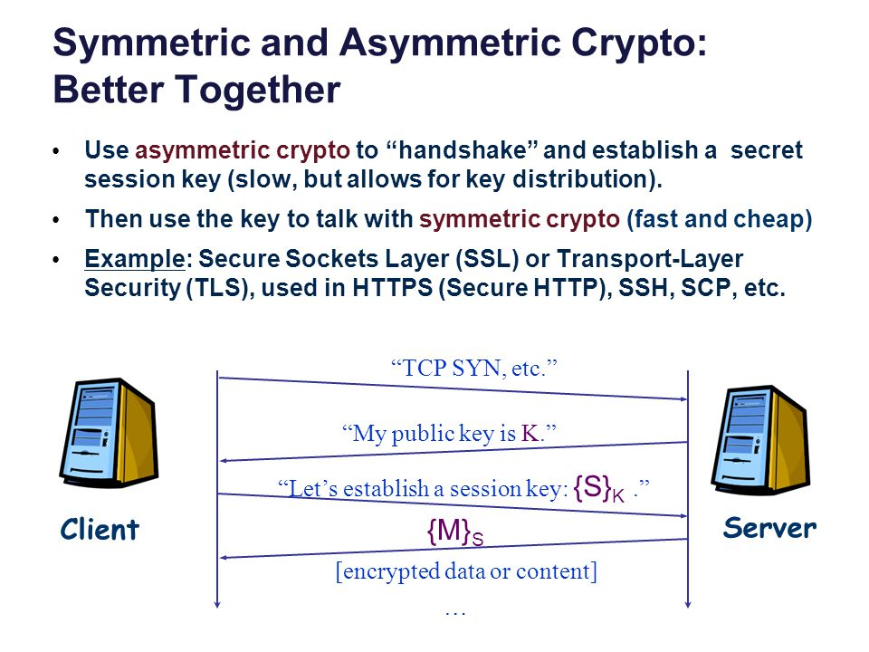 Symmetric and Asymmetric Crypto: Better Together Use asymmetric crypto to handshake and establish a secret session key (slow, but allows for key distribution).