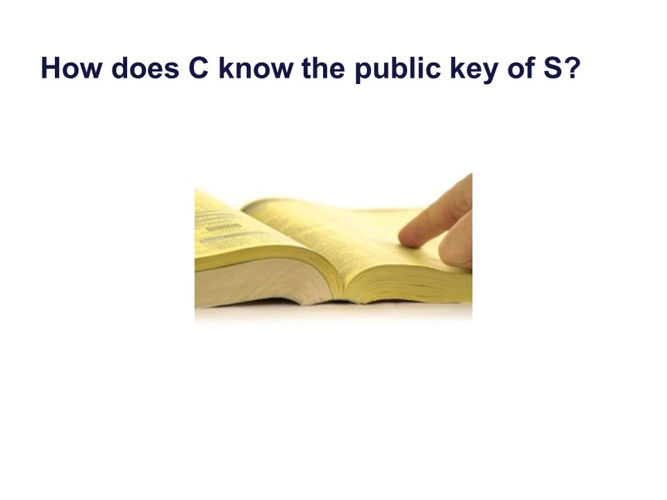 How does C know the public key of S
