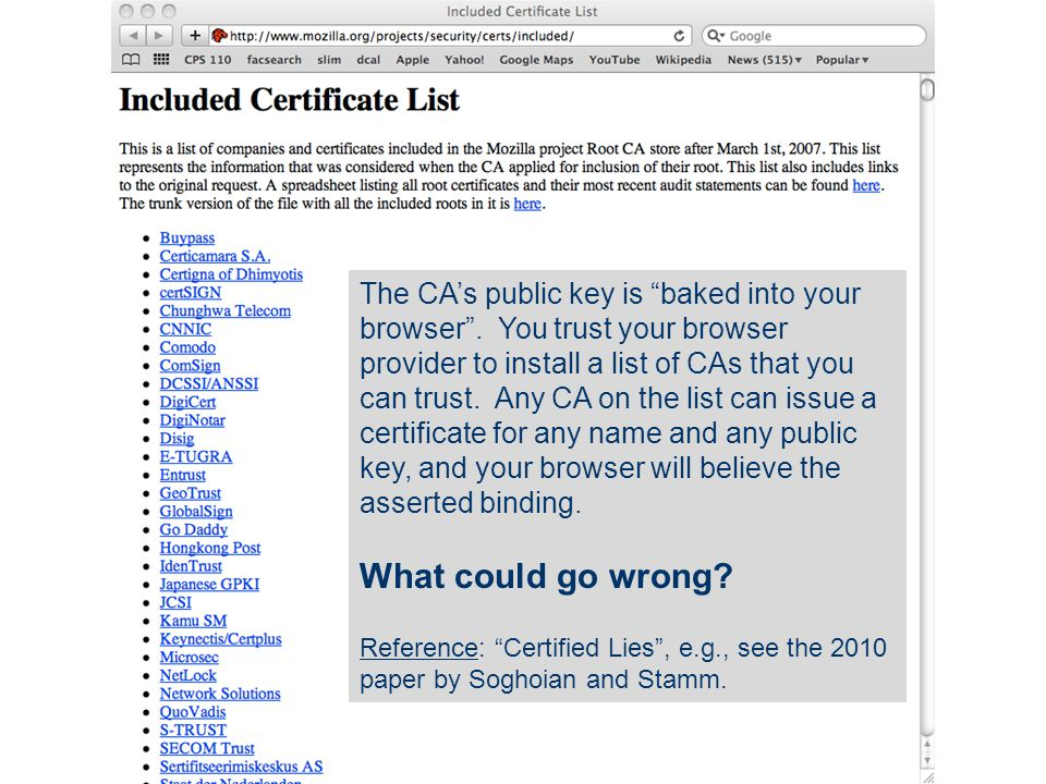 The CA's public key is baked into your browser .