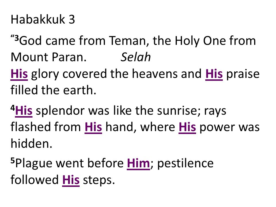 Habakkuk 3 3 God came from Teman, the Holy One from Mount Paran.