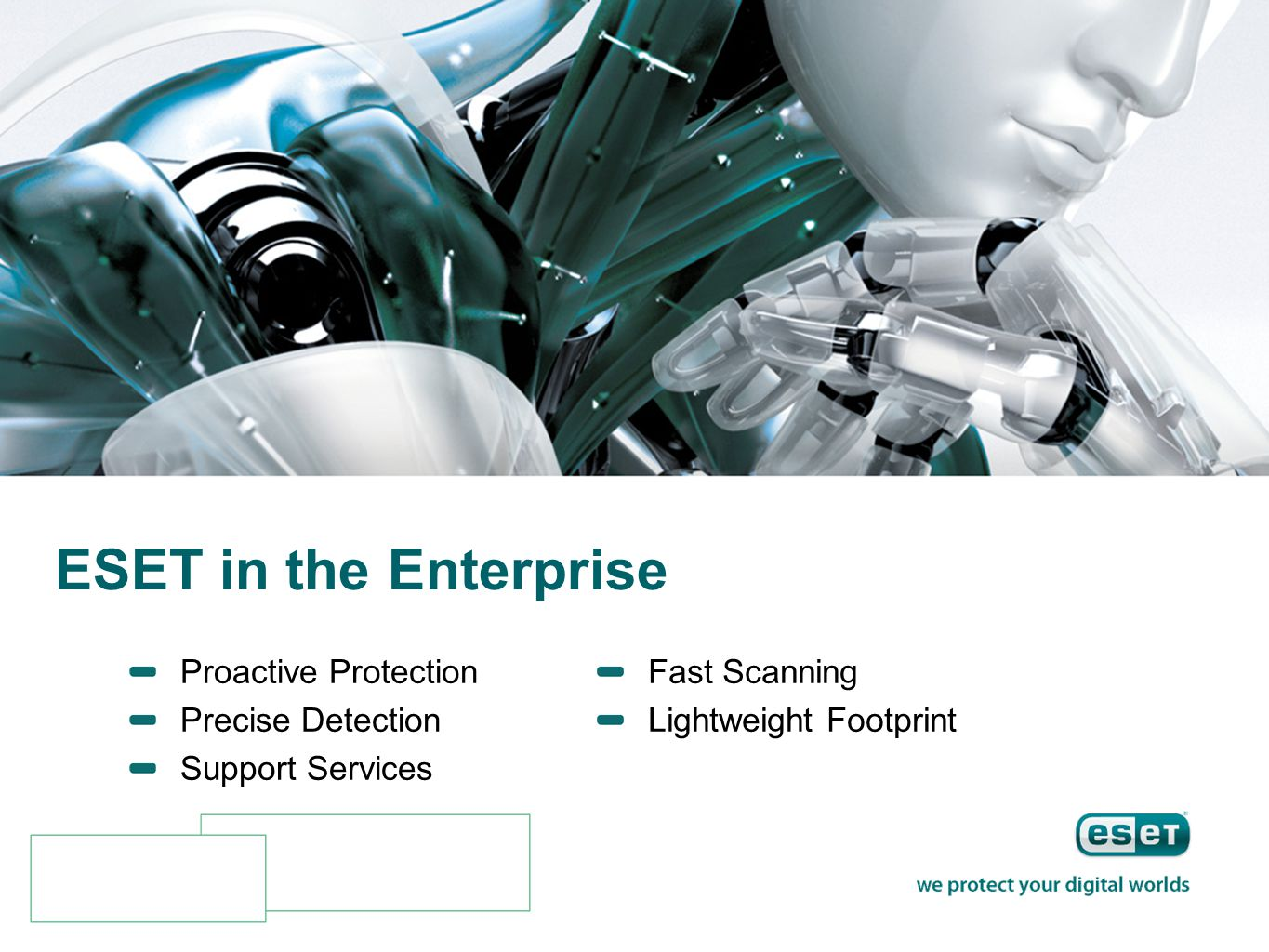 ESET in the Enterprise Proactive Protection Precise Detection Support Services Fast Scanning Lightweight Footprint