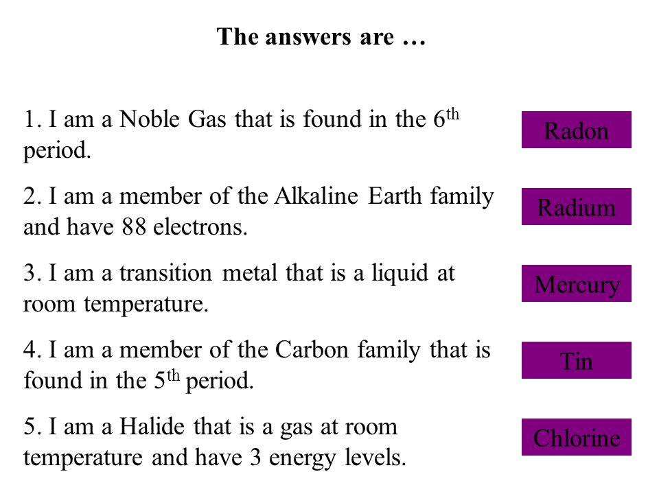 The answers are … Radon Radium Mercury Tin Chlorine 1.