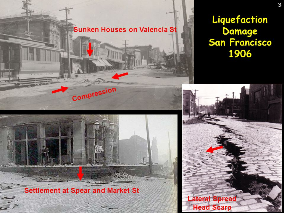 Sunken Houses on Valencia St Settlement at Spear and Market St Compression Lateral Spread Head Scarp Liquefaction Damage San Francisco 1906 3