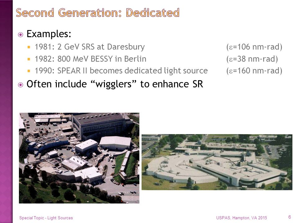  Examples:  1981: 2 GeV SRS at Daresbury(  =106 nm-rad)  1982: 800 MeV BESSY in Berlin(  =38 nm-rad)  1990: SPEAR II becomes dedicated light source(  =160 nm-rad)  Often include wigglers to enhance SR USPAS, Hampton, VA 2015Special Topic - Light Sources 6