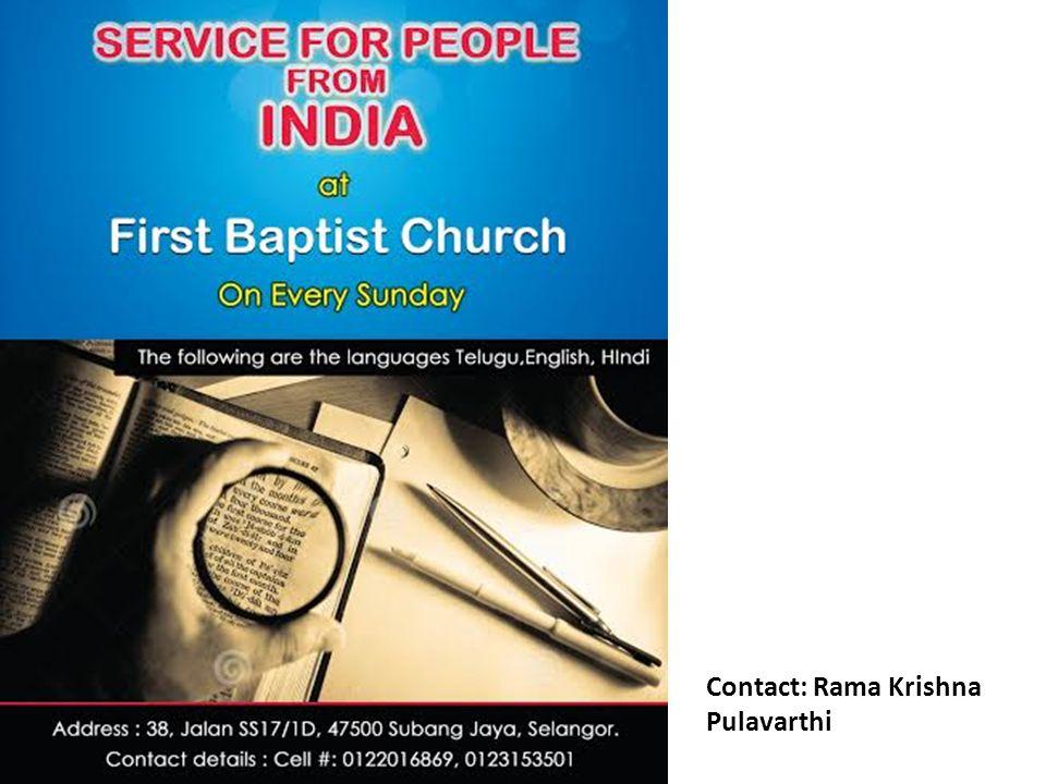 Contact: Rama Krishna Pulavarthi
