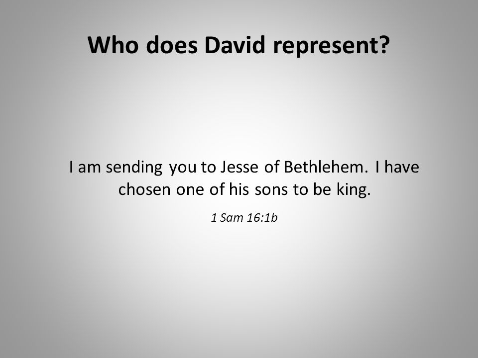Who does David represent. I am sending you to Jesse of Bethlehem.