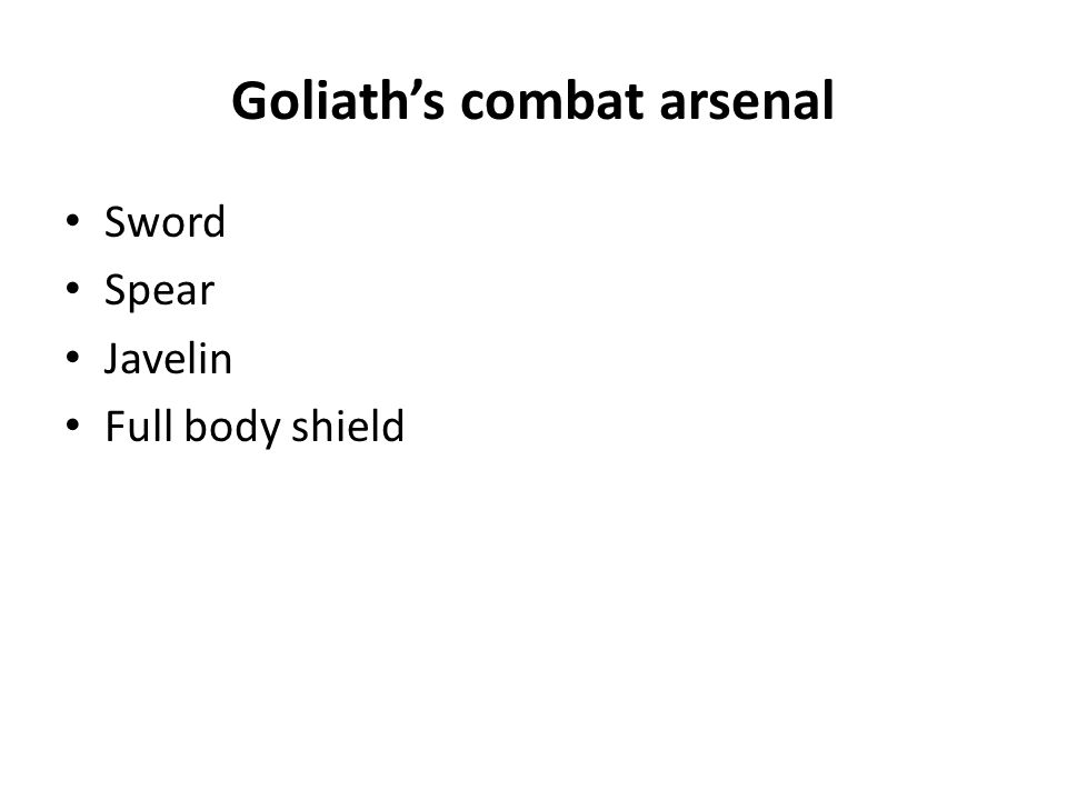 Goliath's combat arsenal Sword Spear Javelin Full body shield