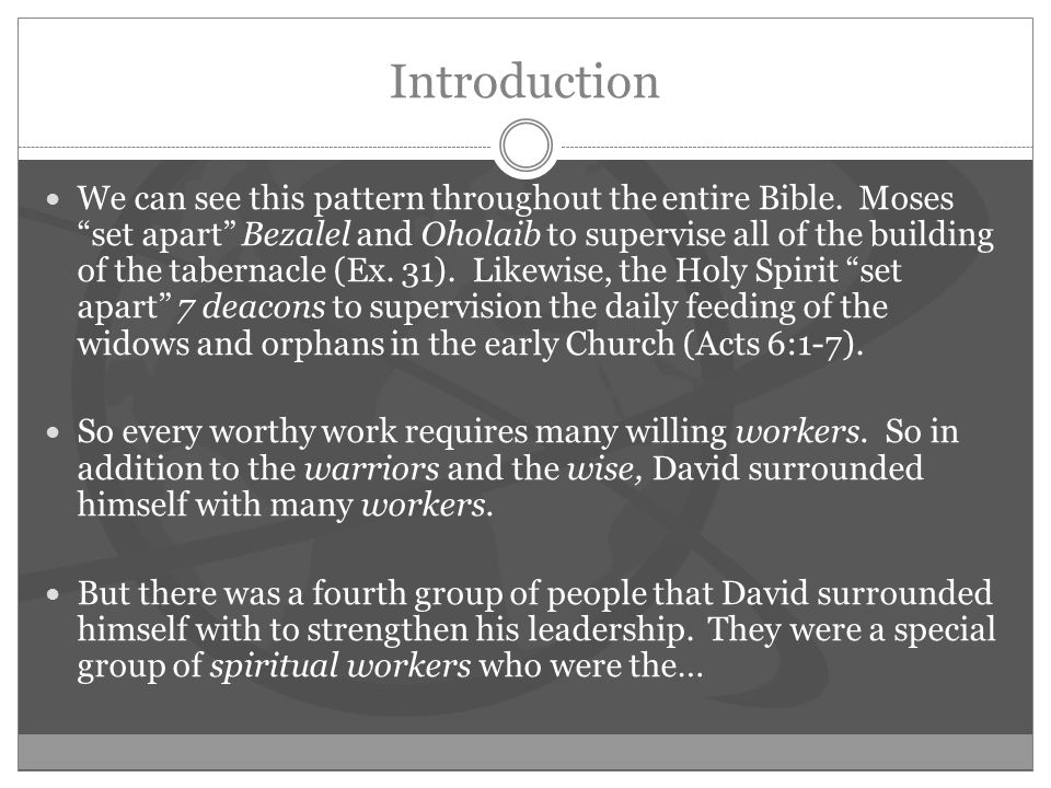 Introduction We can see this pattern throughout the entire Bible.