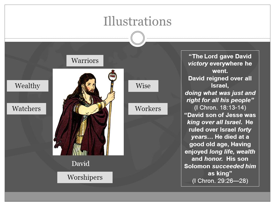 Illustrations David Warriors Watchers Wealthy Workers Wise Worshipers The Lord gave David victory everywhere he went.