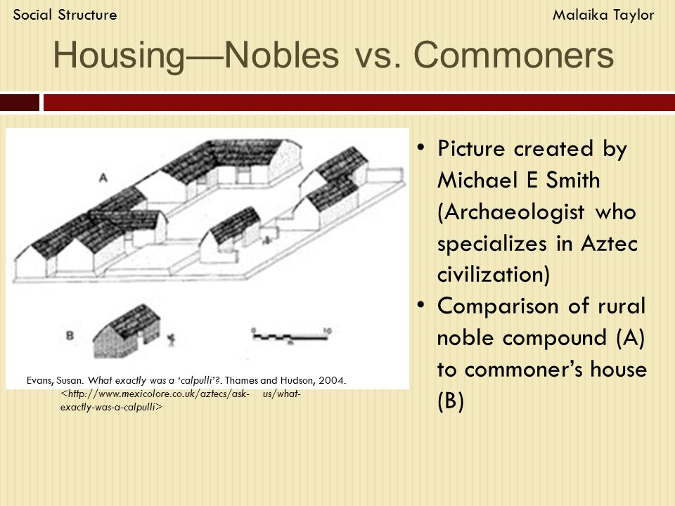 Housing—Nobles vs. Commoners Evans, Susan. What exactly was a 'calpulli' .