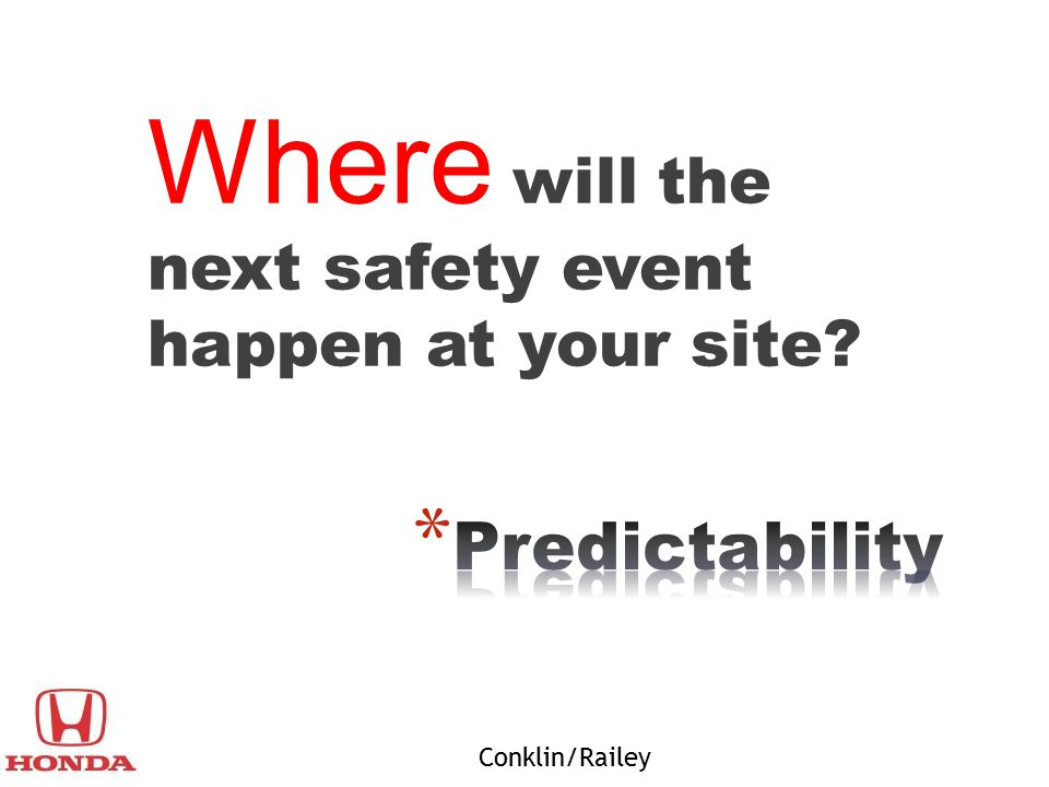 Where will the next safety event happen at your site? Conklin/Railey