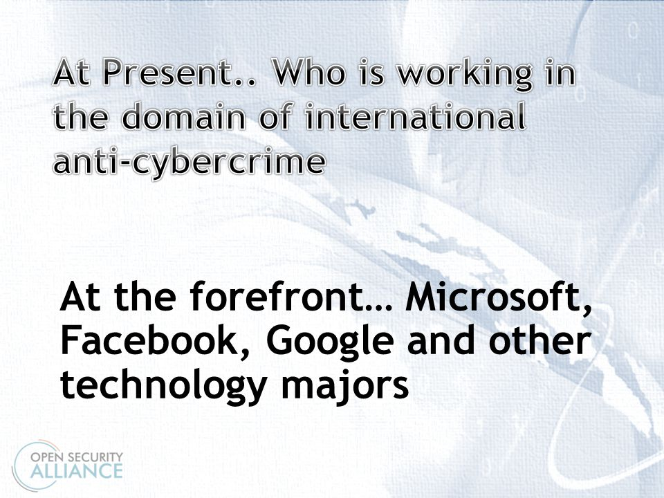 \ At the forefront… Microsoft, Facebook, Google and other technology majors