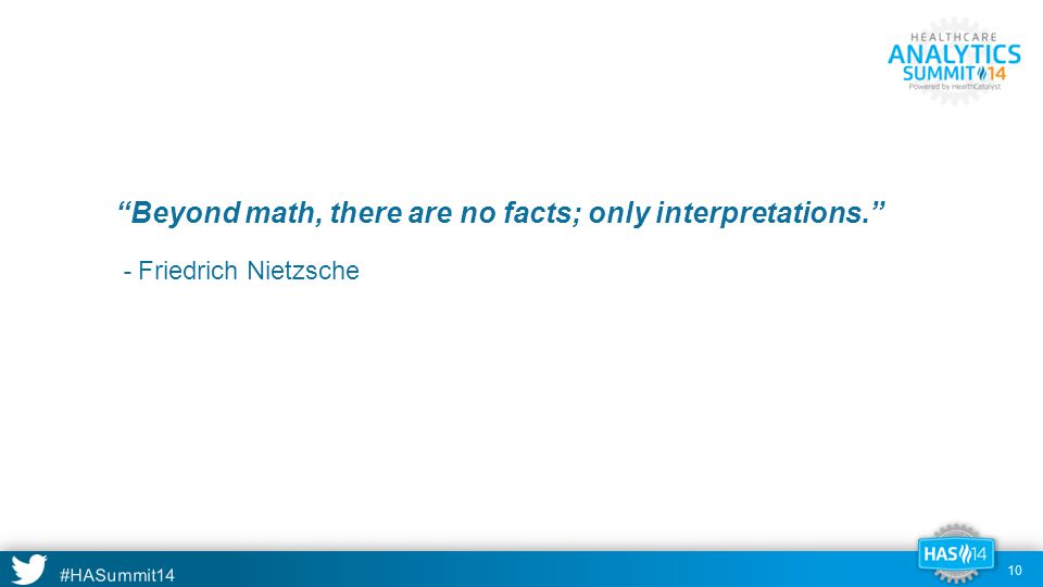 #HASummit14 Beyond math, there are no facts; only interpretations. - Friedrich Nietzsche 10