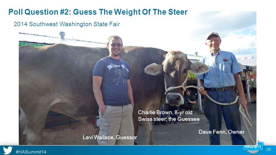 #HASummit14 c c Poll Question #2: Guess The Weight Of The Steer Levi Wallace, Guessor Dave Fenn, Owner Charlie Brown, 8-yr old Swiss steer; the Guessee 2014 Southwest Washington State Fair 20