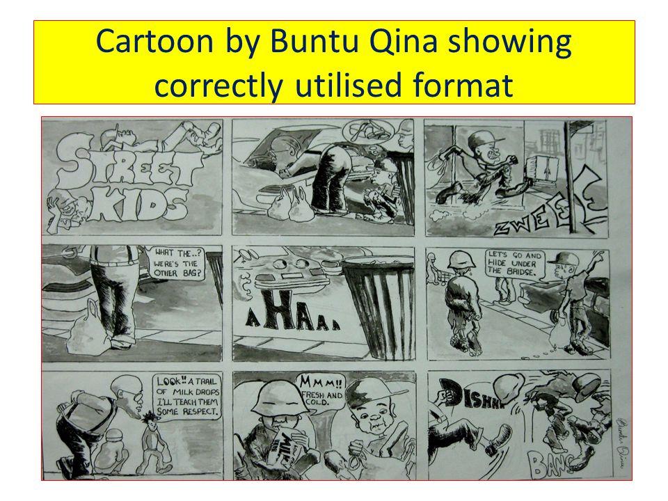 Cartoon by Buntu Qina showing correctly utilised format