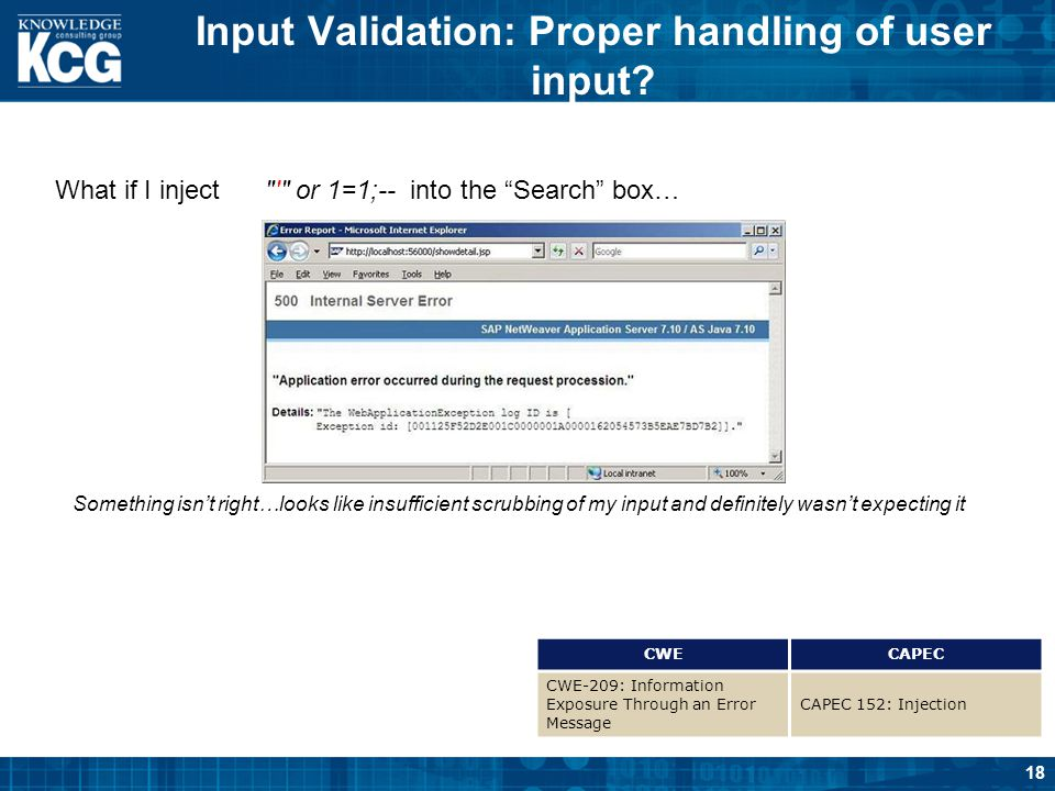 18 Input Validation: Proper handling of user input? CWECAPEC CWE-209: Information Exposure Through an Error Message CAPEC 152: Injection What if I inj