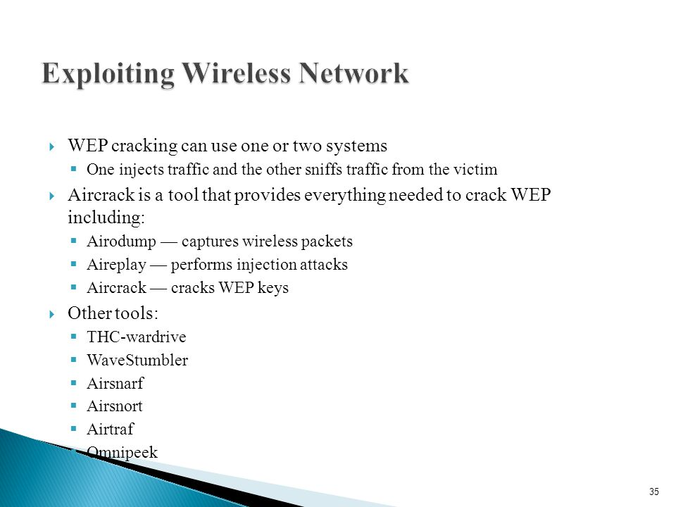  WEP cracking can use one or two systems  One injects traffic and the other sniffs traffic from the victim  Aircrack is a tool that provides everything needed to crack WEP including:  Airodump — captures wireless packets  Aireplay — performs injection attacks  Aircrack — cracks WEP keys  Other tools:  THC-wardrive  WaveStumbler  Airsnarf  Airsnort  Airtraf  Omnipeek 35