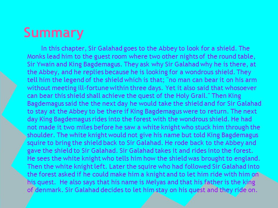 Summary I n this chapter, Sir Galahad goes to the Abbey to look for a shield.