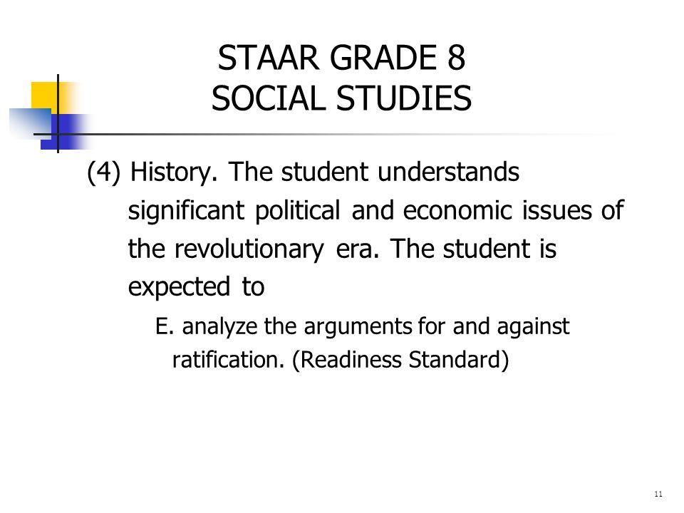 STAAR GRADE 8 SOCIAL STUDIES (4) History.