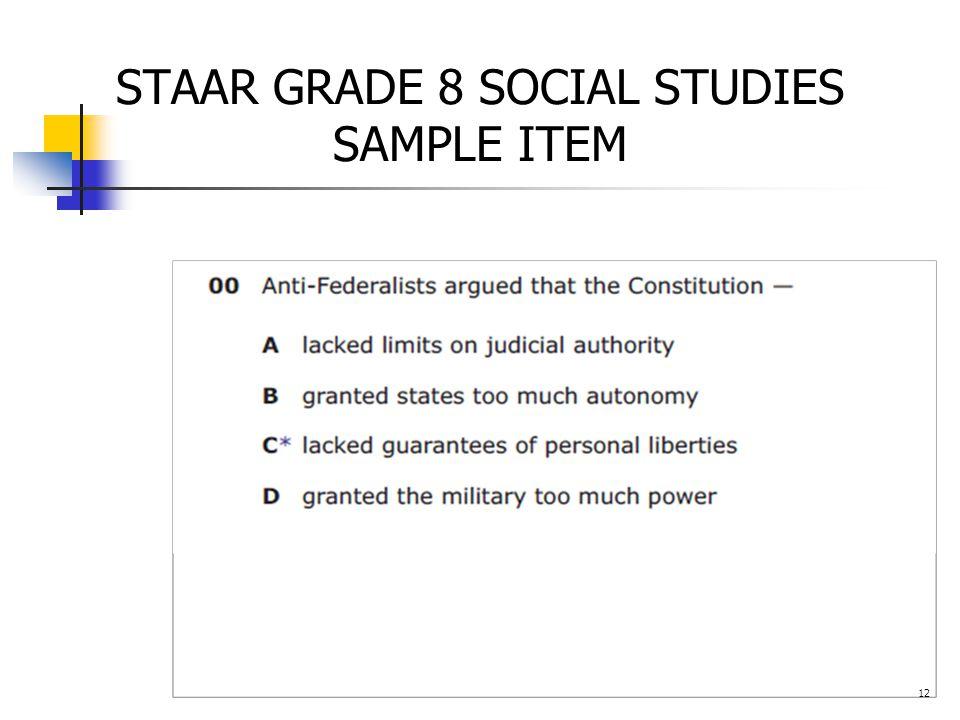 STAAR GRADE 8 SOCIAL STUDIES SAMPLE ITEM 12