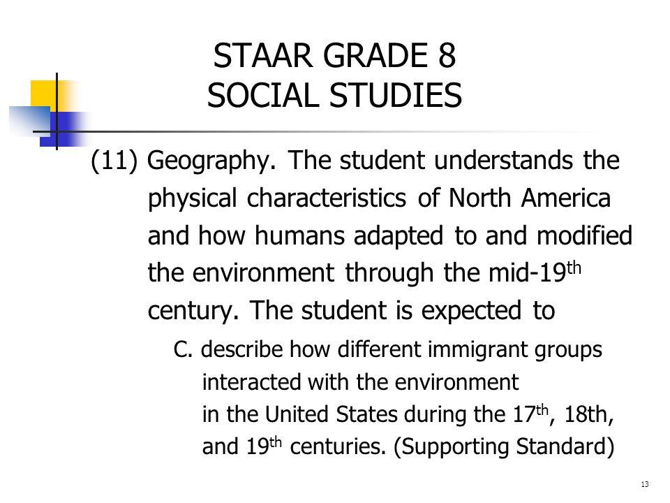 STAAR GRADE 8 SOCIAL STUDIES (11) Geography.