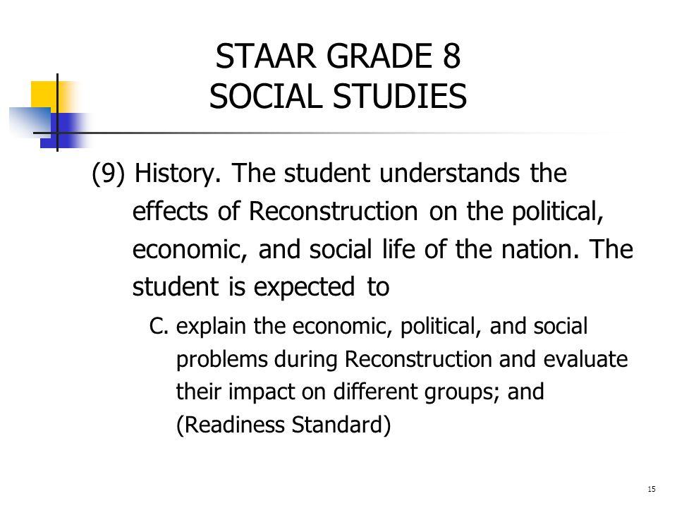 STAAR GRADE 8 SOCIAL STUDIES (9) History.