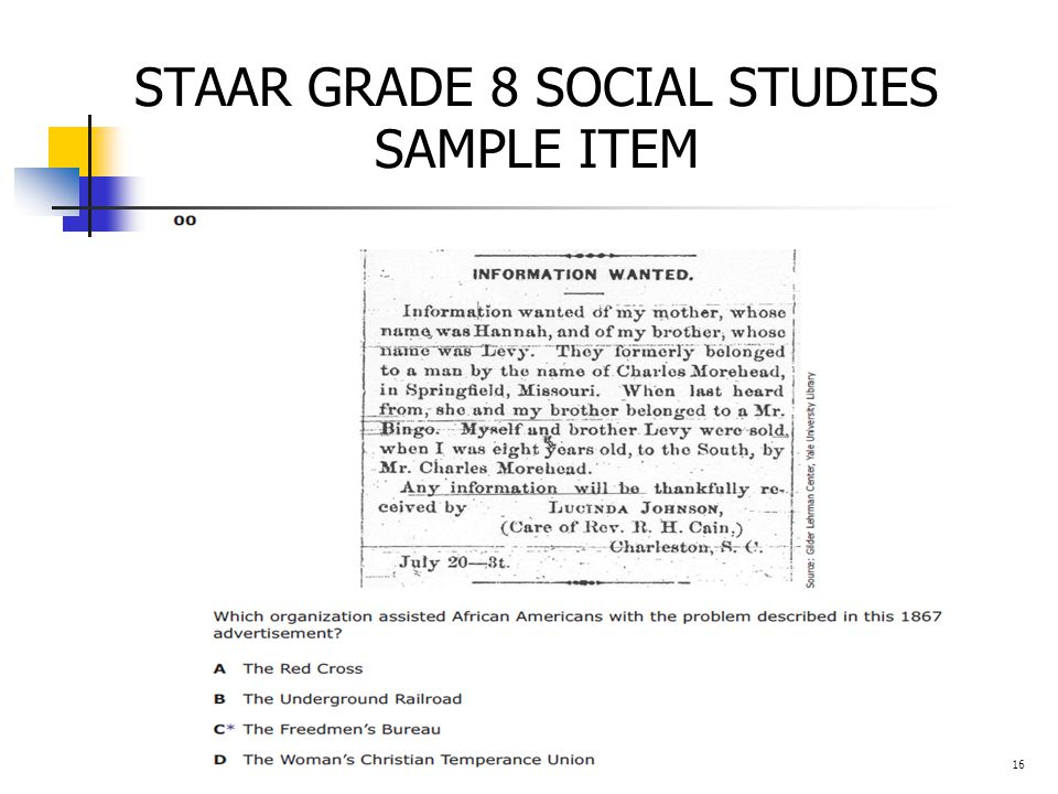 STAAR GRADE 8 SOCIAL STUDIES SAMPLE ITEM 16
