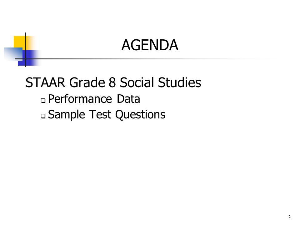 AGENDA STAAR Grade 8 Social Studies  Performance Data  Sample Test Questions 2