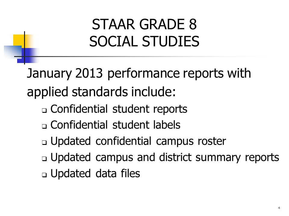STAAR GRADE 8 SOCIAL STUDIES January 2013 performance reports with applied standards include:  Confidential student reports  Confidential student labels  Updated confidential campus roster  Updated campus and district summary reports  Updated data files 4