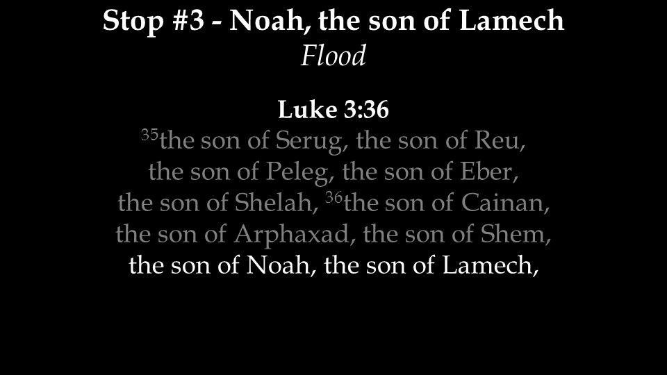 Stop #3 - Noah, the son of Lamech Flood Luke 3:36 35 the son of Serug, the son of Reu, the son of Peleg, the son of Eber, the son of Shelah, 36 the son of Cainan, the son of Arphaxad, the son of Shem, the son of Noah, the son of Lamech,