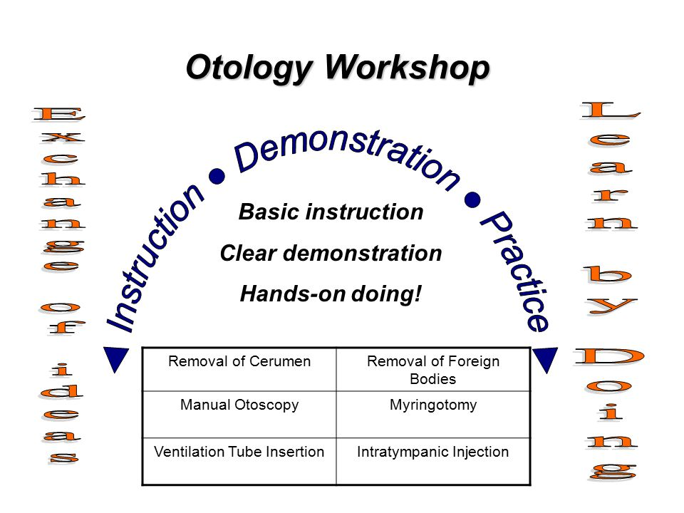 Otology Workshop Basic instruction Clear demonstration Hands-on doing.