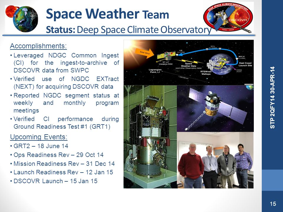 15 STP 2QFY14 30-APR-14 Accomplishments: Leveraged NDGC Common Ingest (CI) for the ingest-to-archive of DSCOVR data from SWPC Verified use of NGDC EXT