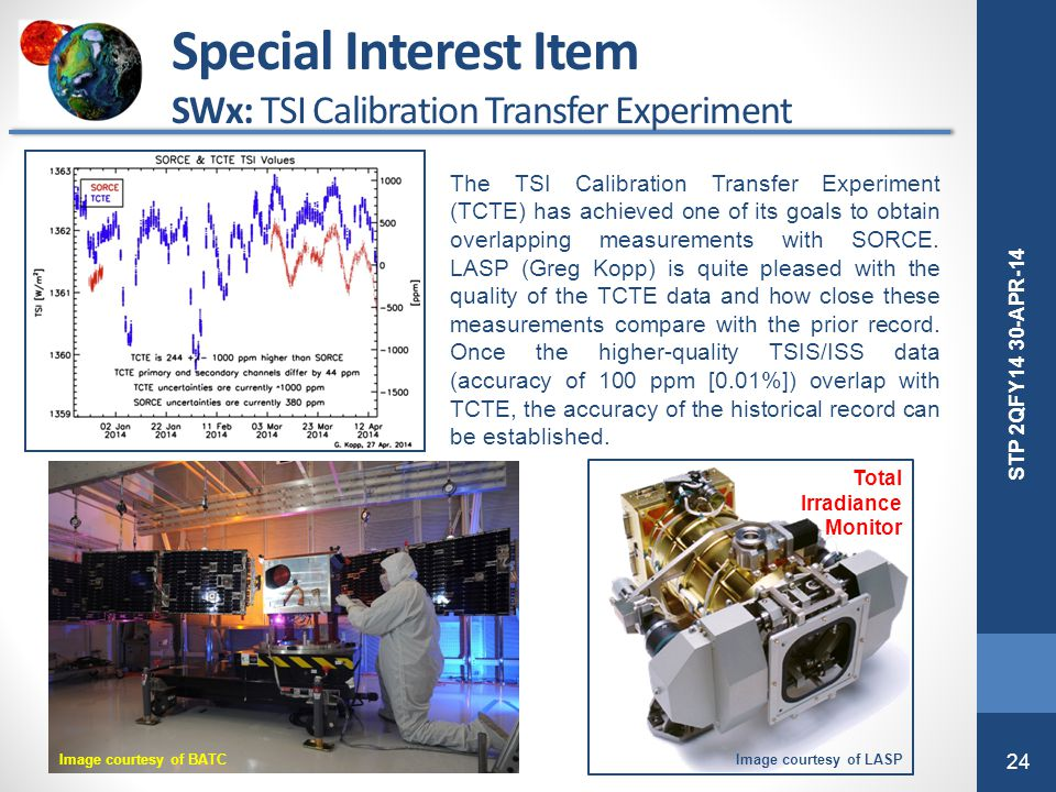 24 STP 2QFY14 30-APR-14 The TSI Calibration Transfer Experiment (TCTE) has achieved one of its goals to obtain overlapping measurements with SORCE. LA