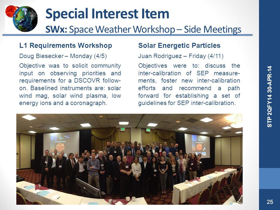 25 STP 2QFY14 30-APR-14 Special Interest Item SWx: Space Weather Workshop – Side Meetings L1 Requirements Workshop Doug Biesecker – Monday (4/5) Objec