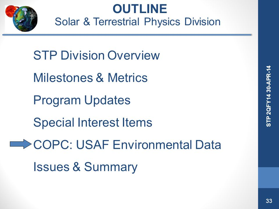 33 STP 2QFY14 30-APR-14 OUTLINE Solar & Terrestrial Physics Division STP Division Overview Milestones & Metrics Program Updates Special Interest Items