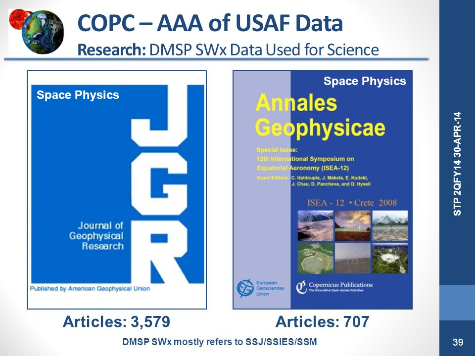 39 STP 2QFY14 30-APR-14 Articles: 3,579Articles: 707 COPC – AAA of USAF Data Research: DMSP SWx Data Used for Science DMSP SWx mostly refers to SSJ/SS