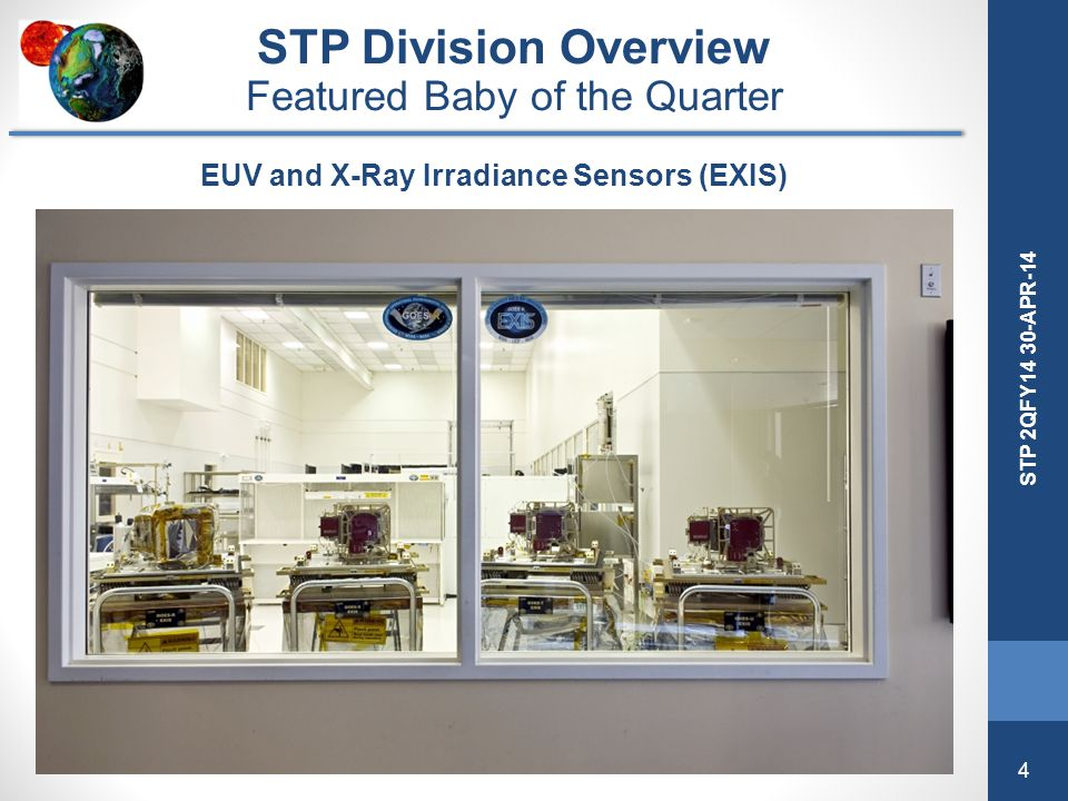 4 STP 2QFY14 30-APR-14 EUV and X-Ray Irradiance Sensors (EXIS) STP Division Overview Featured Baby of the Quarter