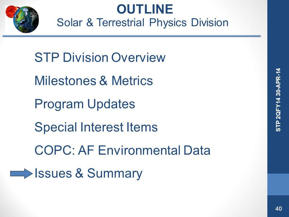 40 STP 2QFY14 30-APR-14 OUTLINE Solar & Terrestrial Physics Division STP Division Overview Milestones & Metrics Program Updates Special Interest Items