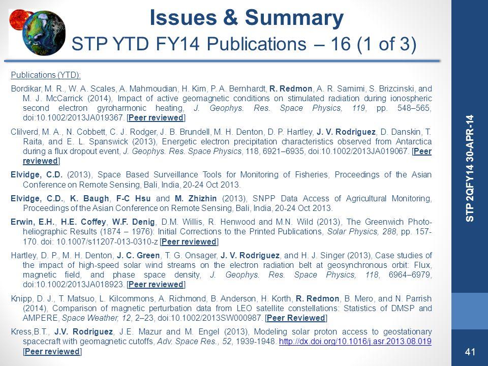 41 STP 2QFY14 30-APR-14 Issues & Summary STP YTD FY14 Publications – 16 (1 of 3) Publications (YTD): Bordikar, M. R., W. A. Scales, A. Mahmoudian, H.
