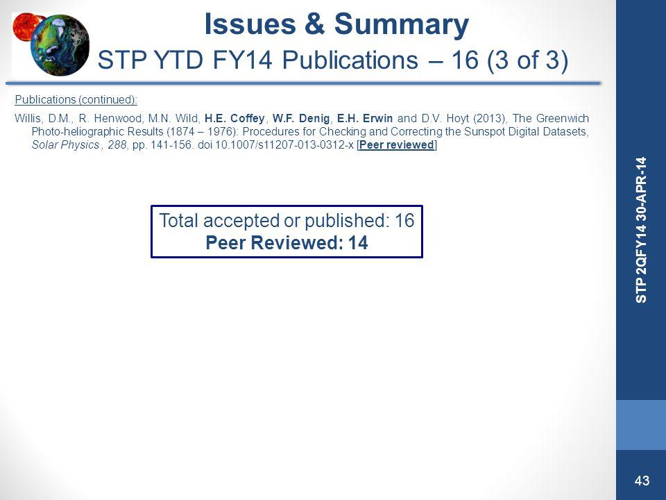 43 STP 2QFY14 30-APR-14 Issues & Summary STP YTD FY14 Publications – 16 (3 of 3) Publications (continued): Willis, D.M., R. Henwood, M.N. Wild, H.E. C