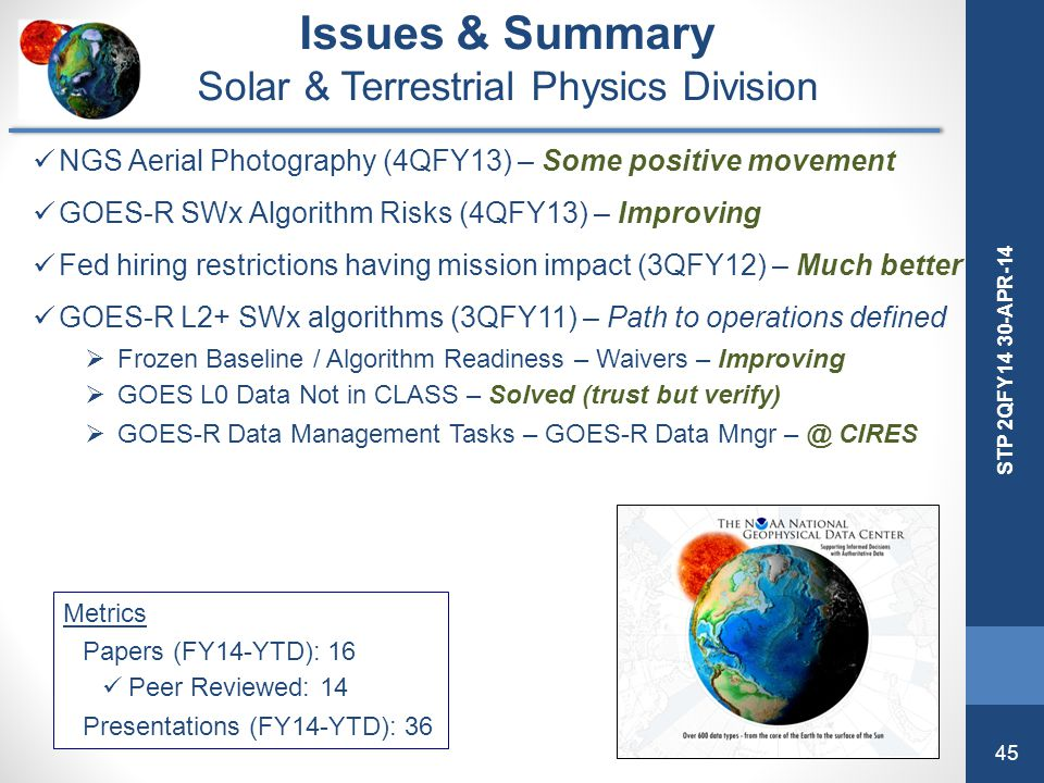 45 STP 2QFY14 30-APR-14 Issues & Summary Solar & Terrestrial Physics Division NGS Aerial Photography (4QFY13) – Some positive movement GOES-R SWx Algo