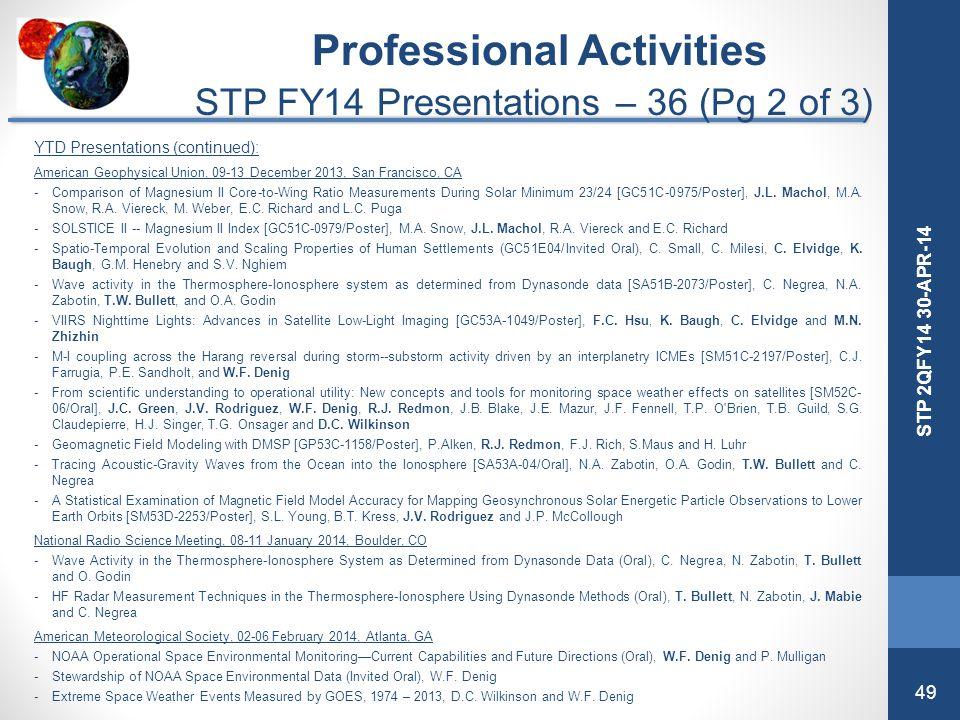 49 STP 2QFY14 30-APR-14 YTD Presentations (continued): American Geophysical Union, 09-13 December 2013, San Francisco, CA -Comparison of Magnesium II