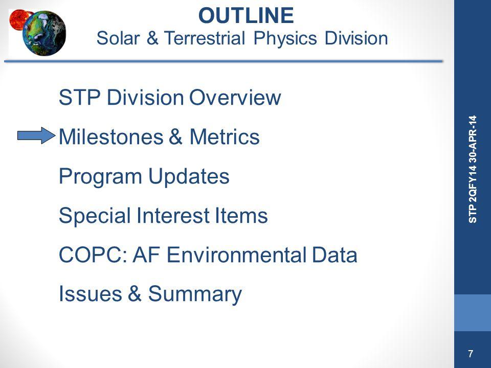 7 STP 2QFY14 30-APR-14 OUTLINE Solar & Terrestrial Physics Division STP Division Overview Milestones & Metrics Program Updates Special Interest Items