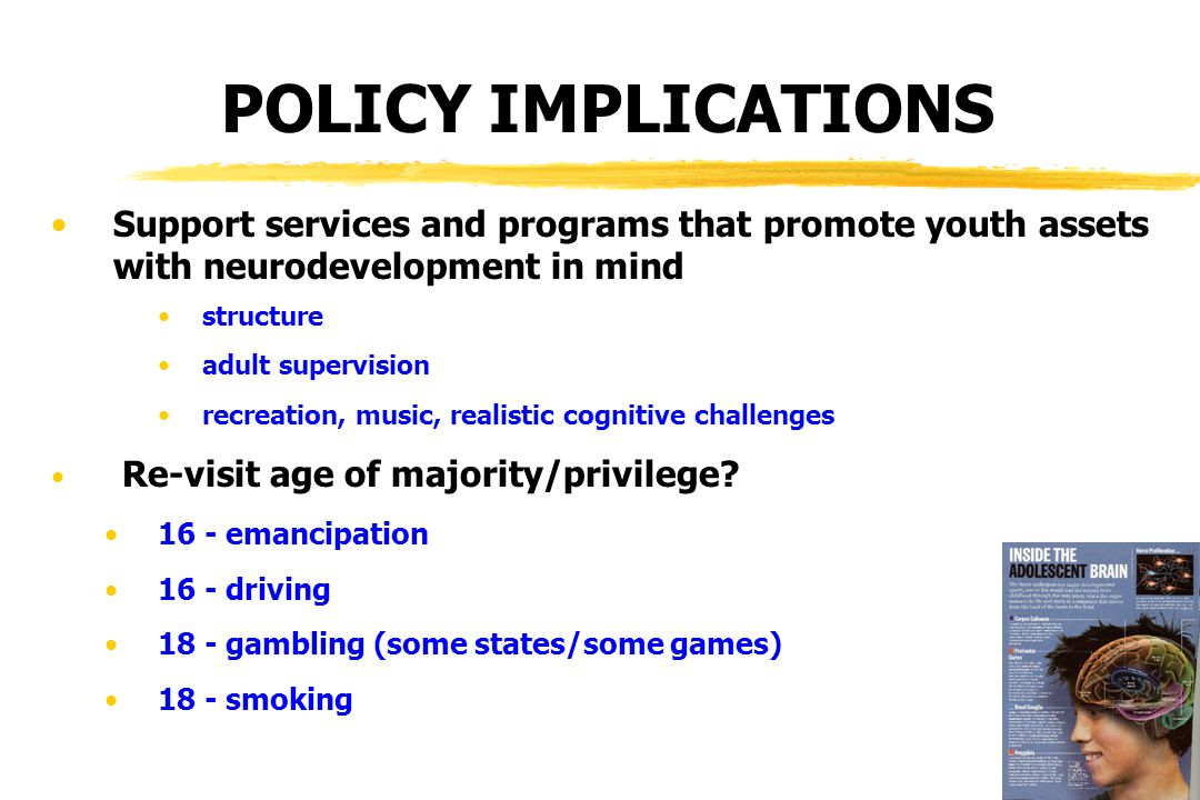 POLICY IMPLICATIONS Support services and programs that promote youth assets with neurodevelopment in mind structure adult supervision recreation, music, realistic cognitive challenges Re-visit age of majority/privilege.