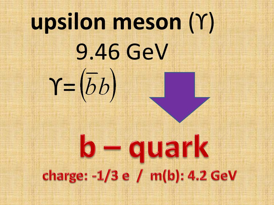 upsilon meson (ϒ) 9.46 GeV ϒ=ϒ=